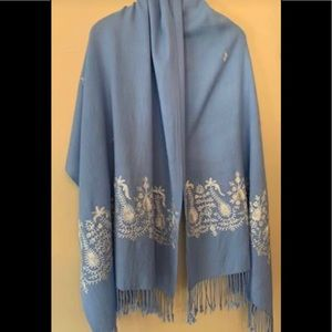 Accessories - NEW Light blue wool stole/scarf w/embellishments